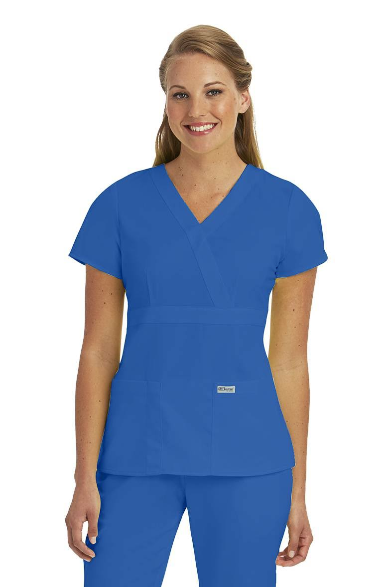 Grey's Anatomy Women's Mock Wrap Solid Scrub Top, New Royal