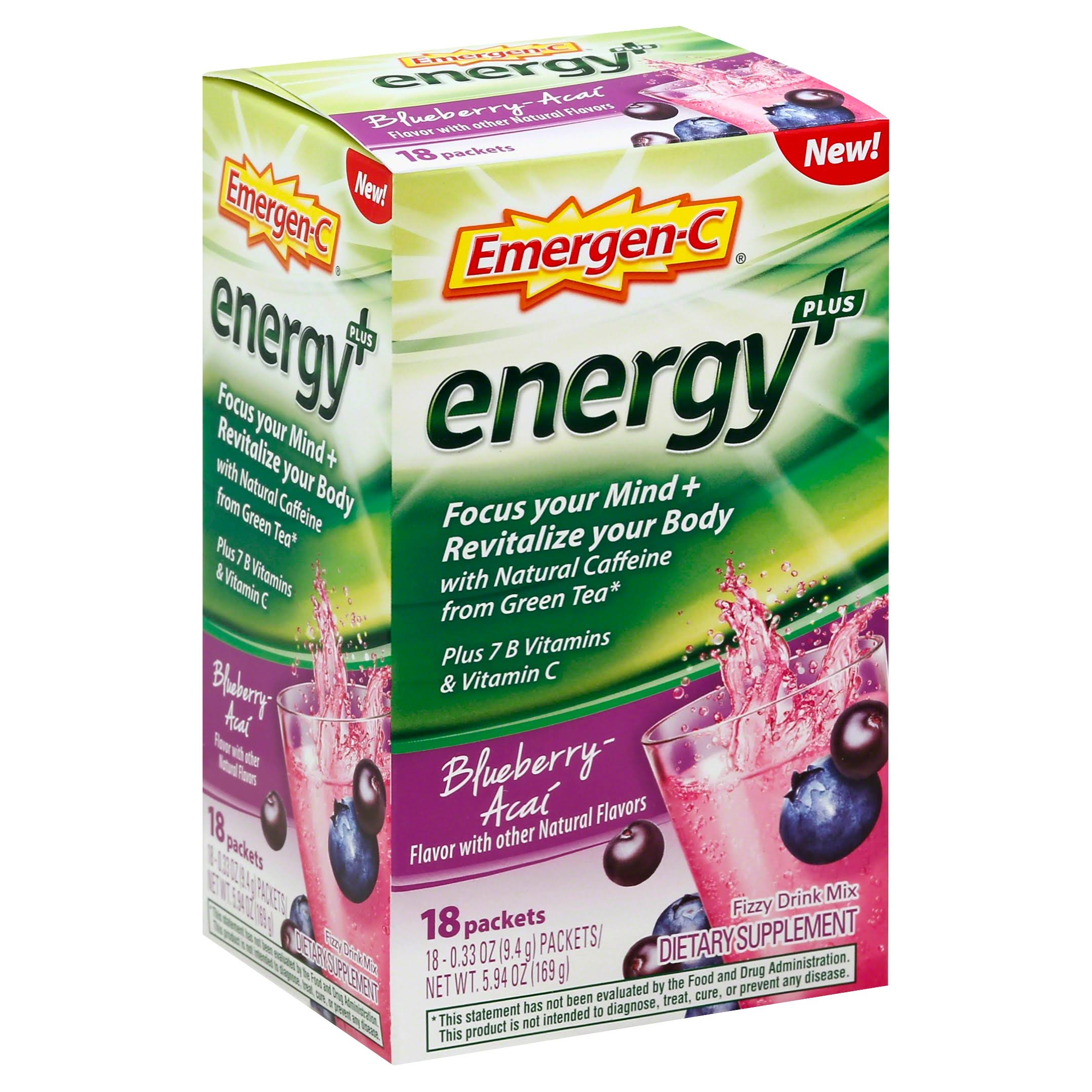 Emergen-C Energy Plus Dietary Supplement Drink Mix - Blueberry-Acai Flavor, 0.33oz, 18 Count