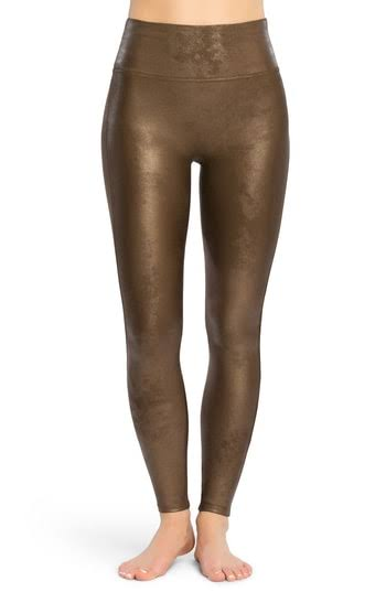 Spanx Faux-Leather Leggings, Womens, M, Bronze Metal