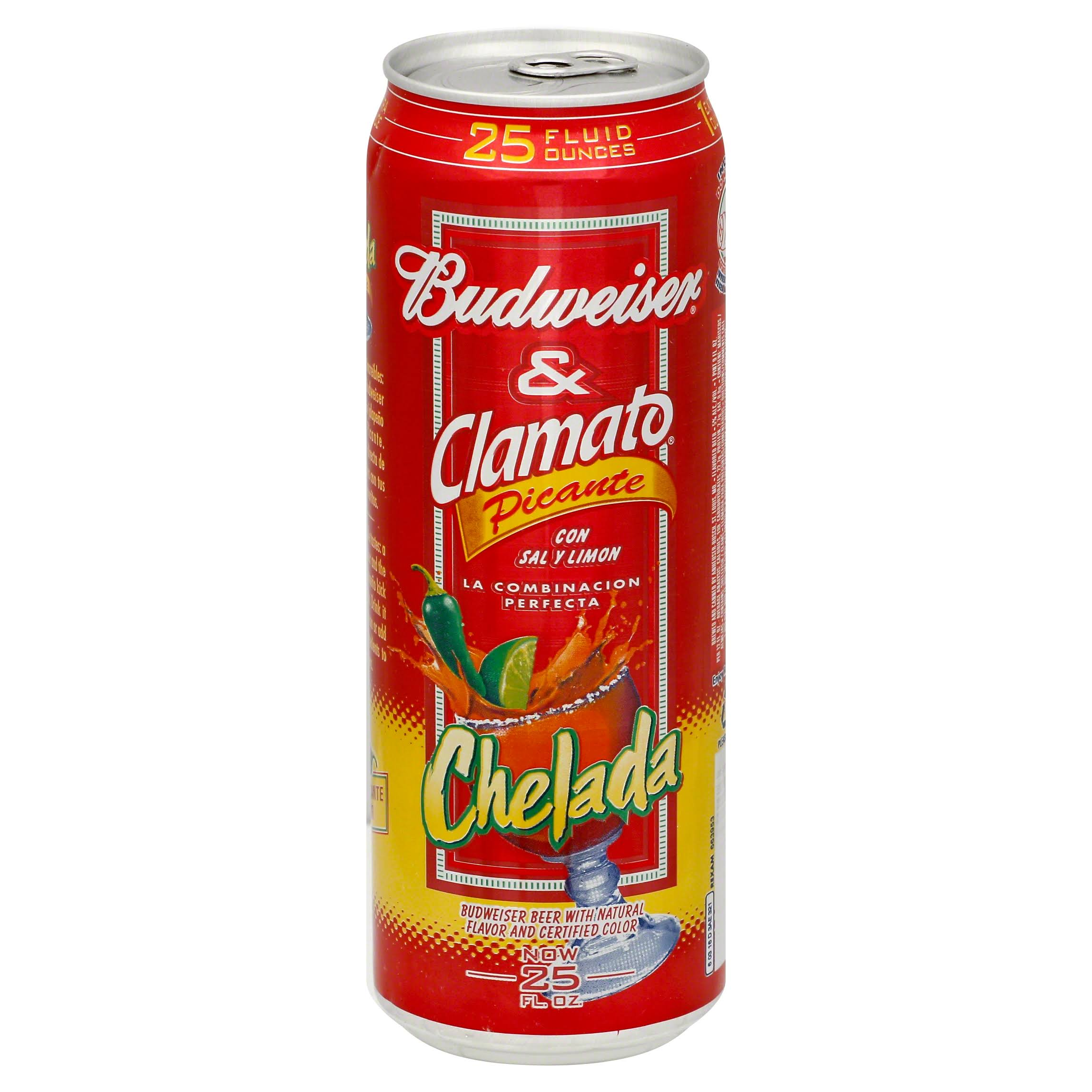 Budweiser and Clamato Picante Chelada - With Salt And Lime, 25fl oz
