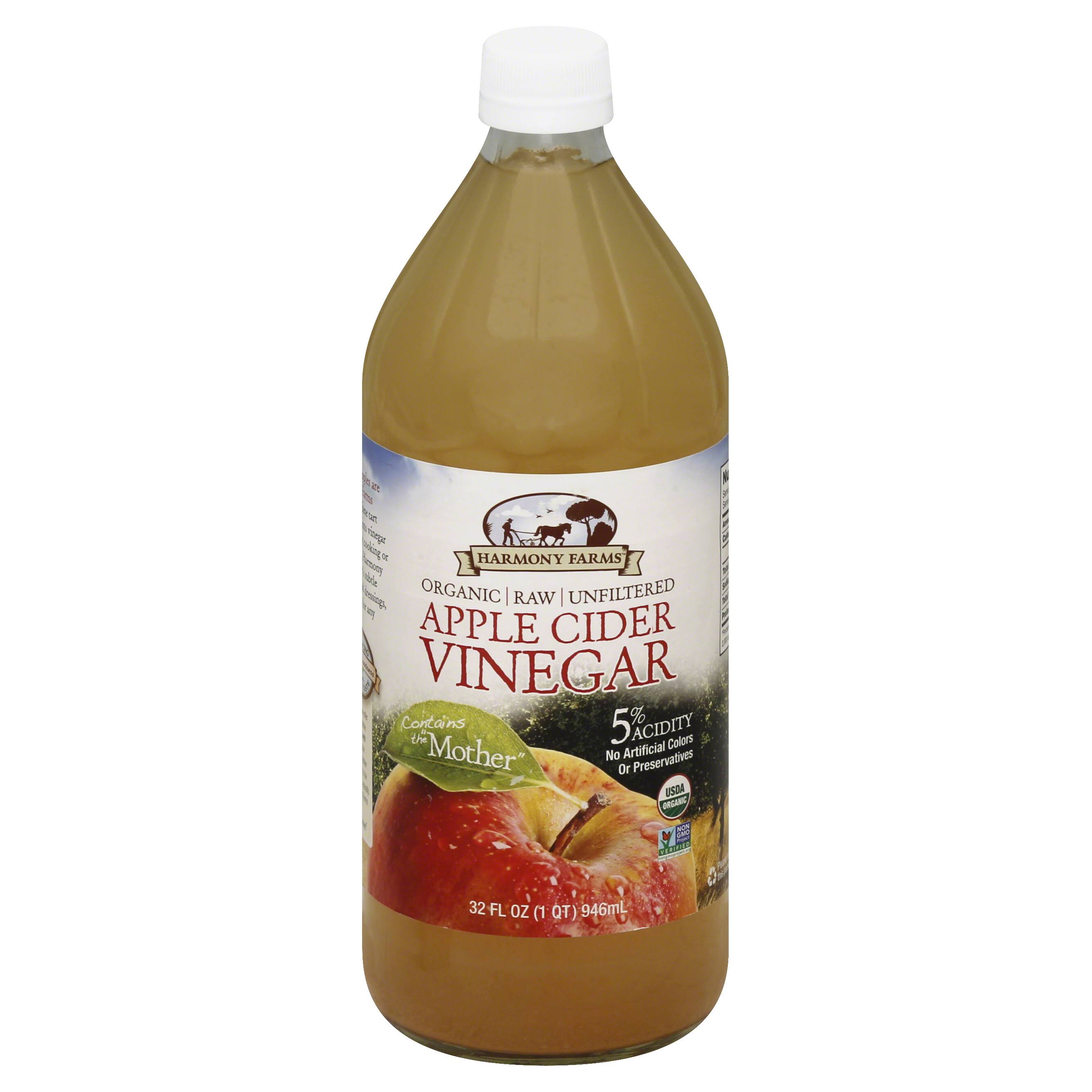Harmony Farms Apple Cider Vinegar Organic - Raw, Unfiltered, 32oz