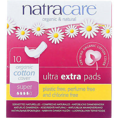 Natracare Organic Cotton Pads - Ultra Extra Super Pads with Wings