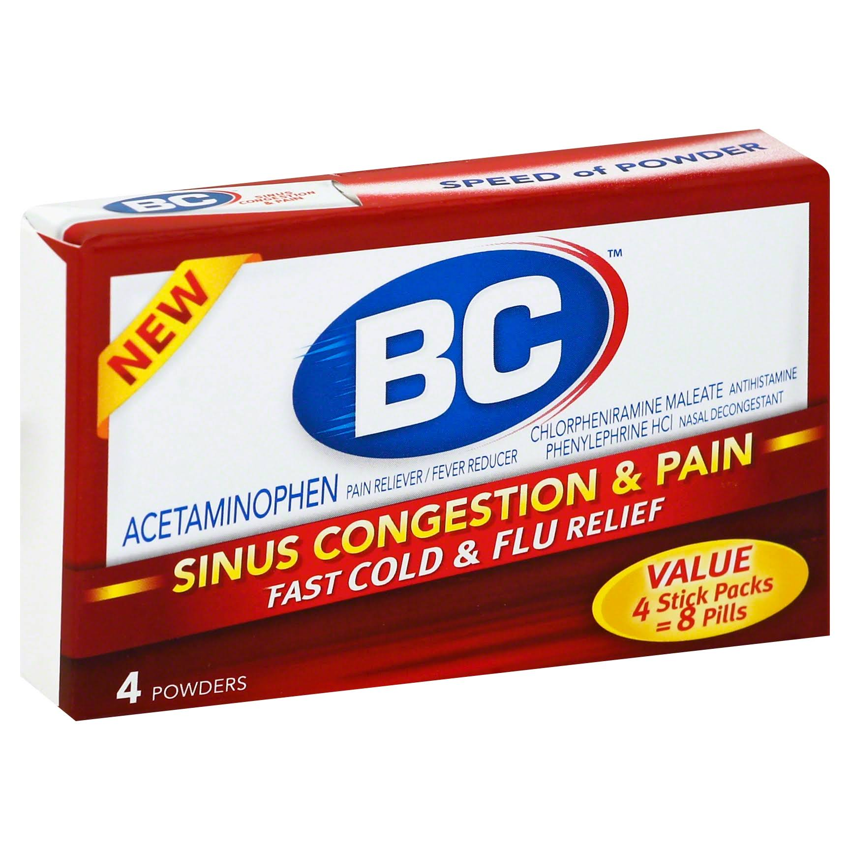BC Sinus Congestion & Pain, Powder, 4 Stick Packs - 4 powders