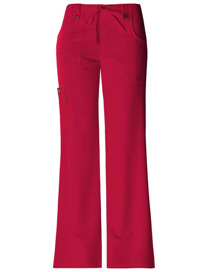 Dickies Women's Xtreme Stretch Drawstring Flare Scrub Pants - Red, Small