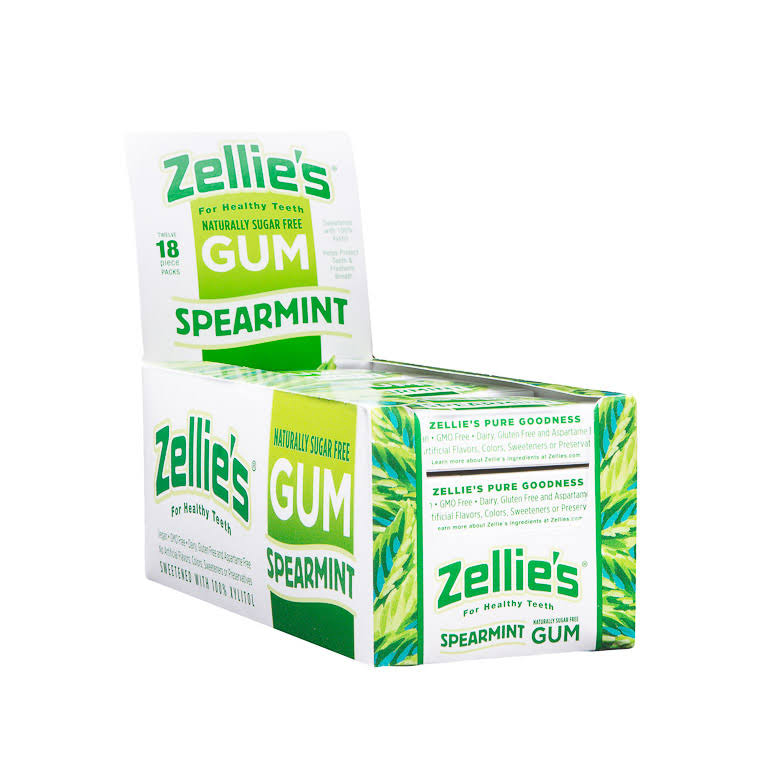 Zellies Gum, Spearmint - 18 pieces, 0.85 oz