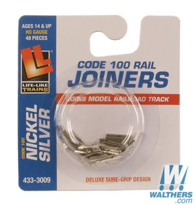 Life-Like HO 433-3009 Rail Joiners, Code 100 Nickel Silver (48)