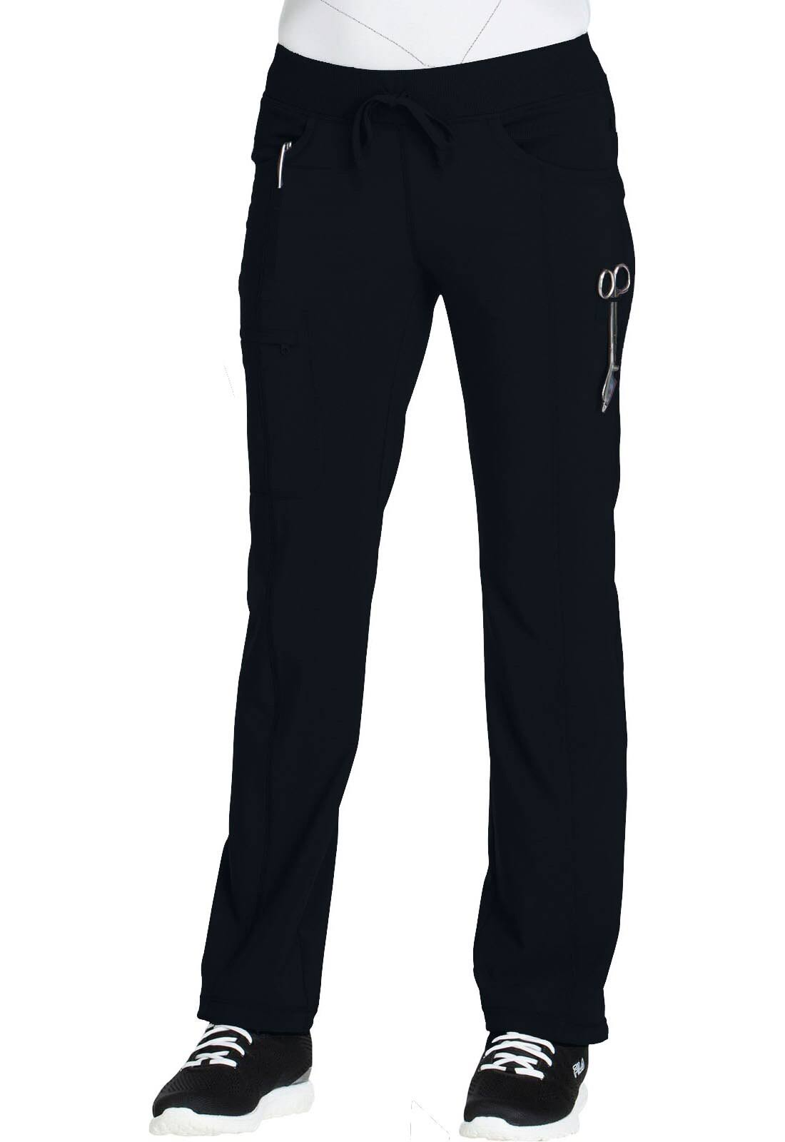 Cherokee Women's Infinity Low Rise Straight Leg Drawstring Pants - Black, Medium