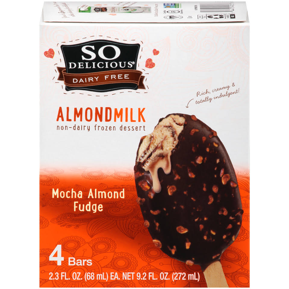 So Delicious Dairy Free Almond Milk Ice Cream Bar - Mocha Almond Fudge, 4 Bars, 272ml