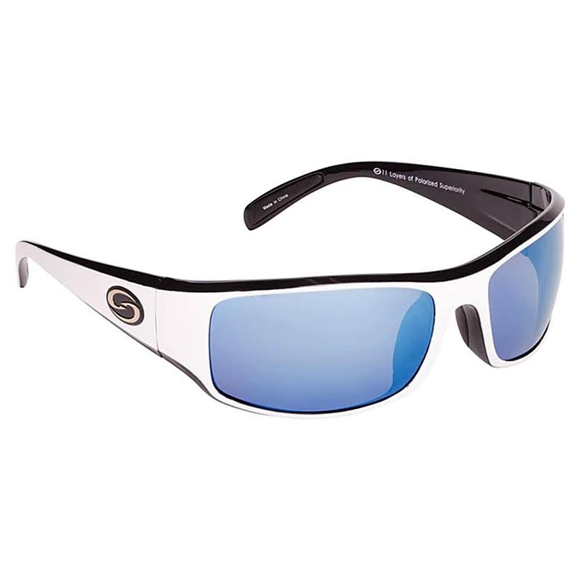 Strike King S11 Optics Okeechobee Sunglasses - White Frame & Blue Polarized Lens
