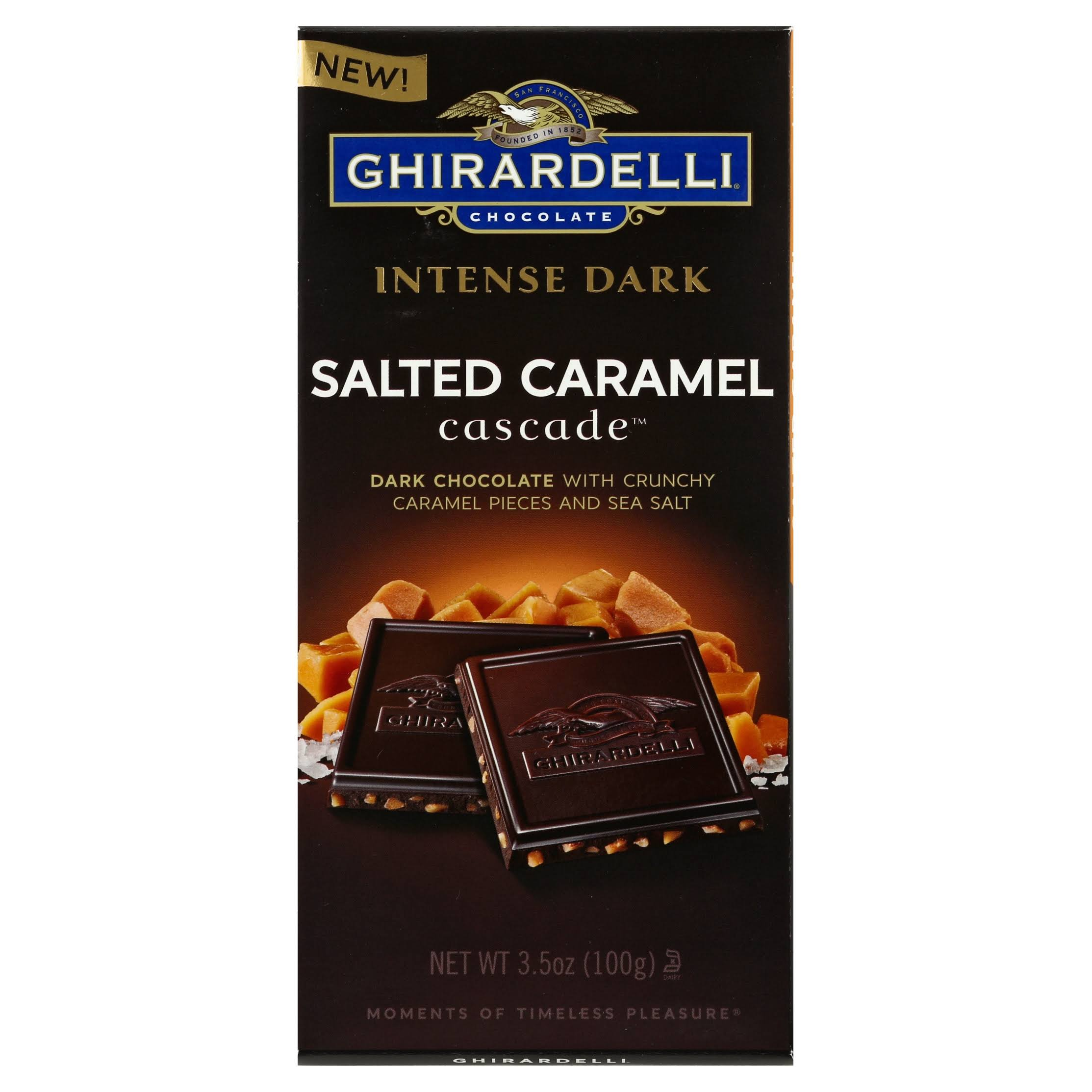 Ghirardelli Intense Dark Dark Chocolate, Salted Caramel Cascade - 3.5 oz