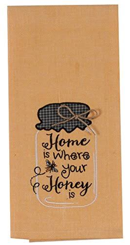 Kay Dee Designs Embroidered Cotton Tea Towel 18 by 28-Inch Honey