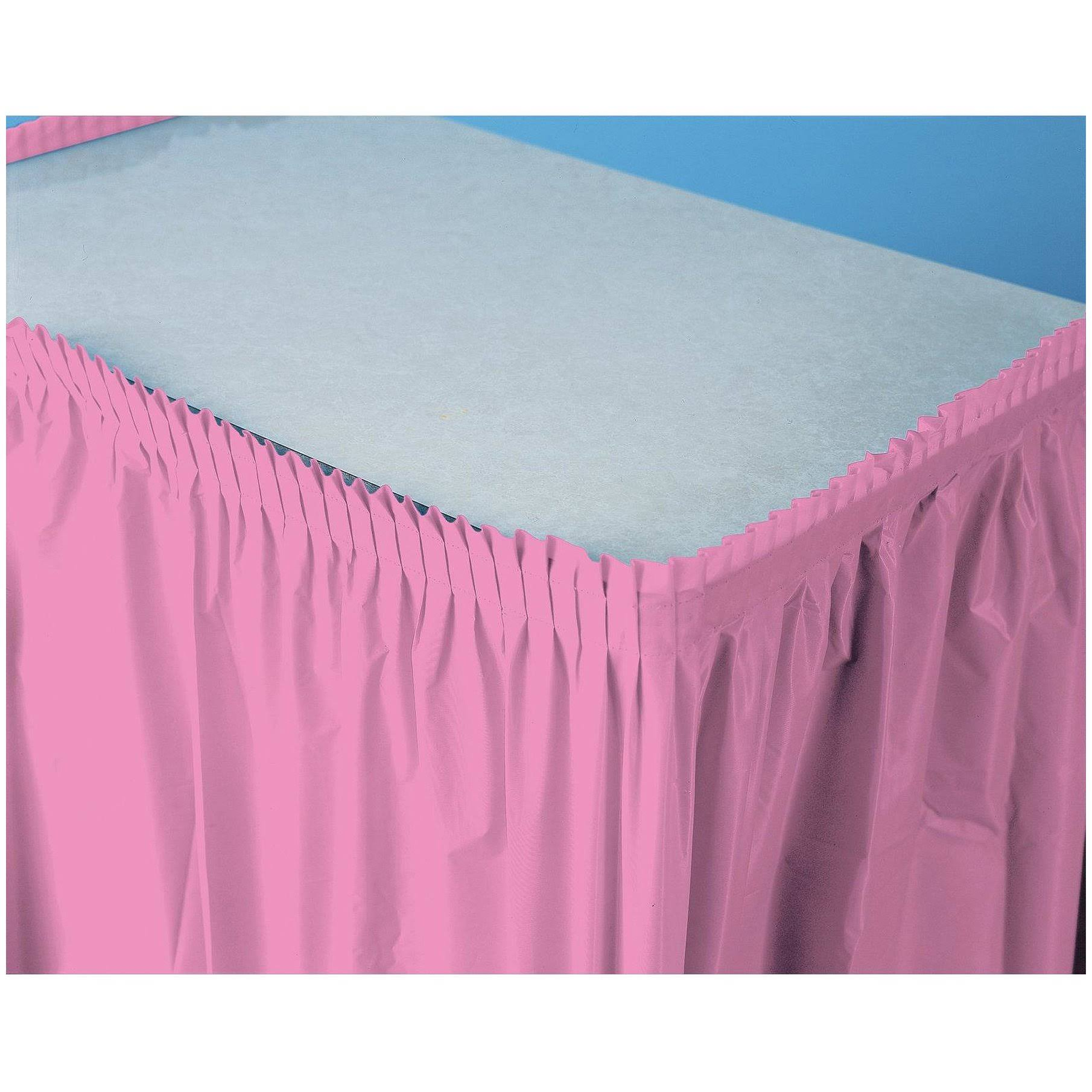 Creative Converting Plastic Table Skirt - 14', Candy Pink
