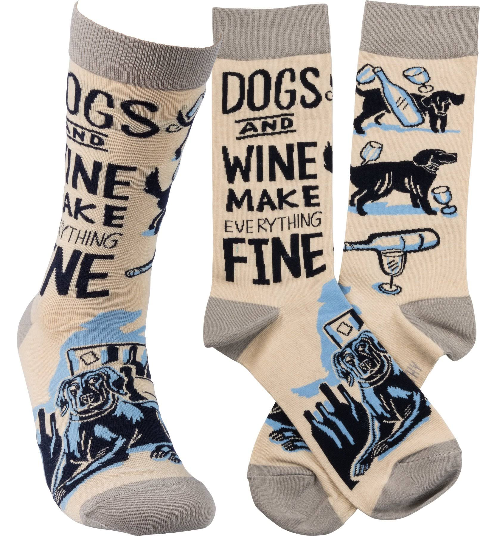 Primitives by Kathy Unisex Crew Socks - Dogs and Wine