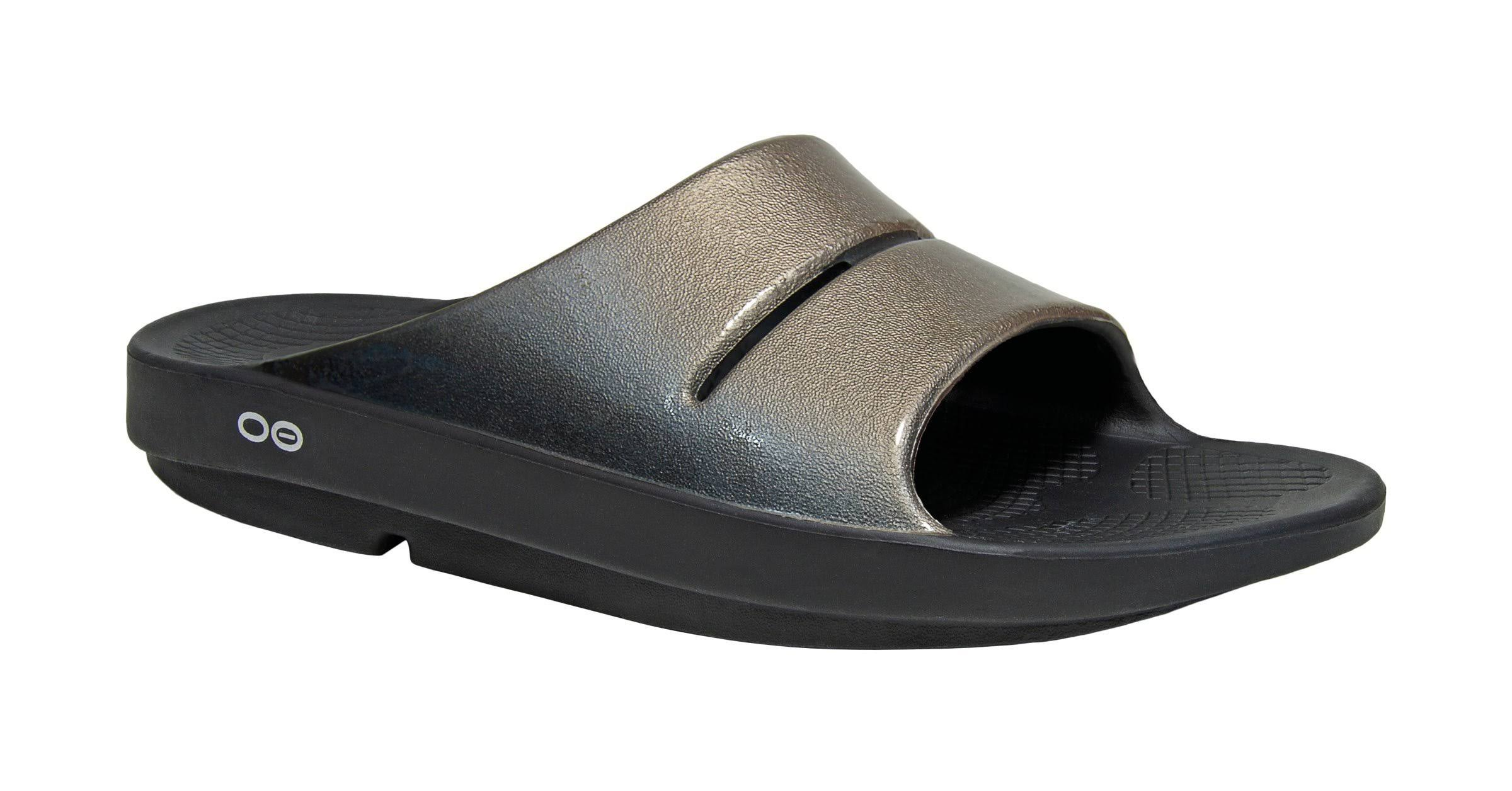 Women's Oofos OOahh Luxe Slide Sandal, Size: 11, Black