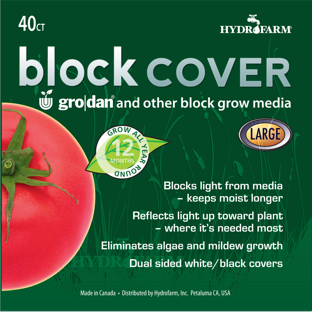 "Hydrofarm 8"" Rockwool Block Cover, Pack of 40"