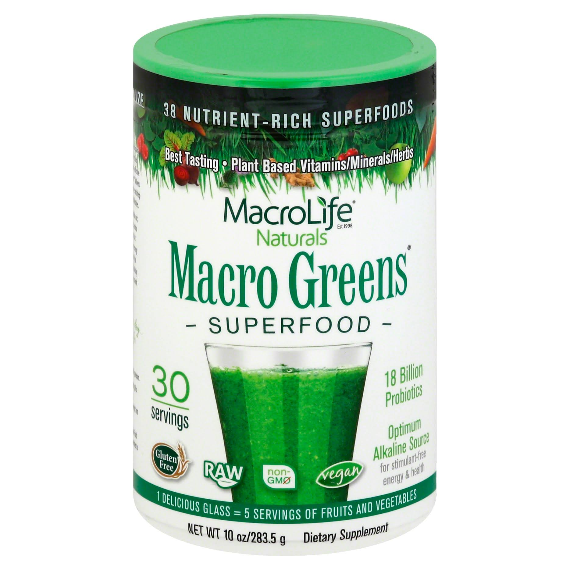 Macrolife Naturals Macro Greens Superfood Dietary Supplement - 10oz