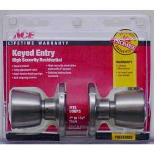 Ace Tulip Entry Lockset - Satin Stainless Steel, 1 3/4""