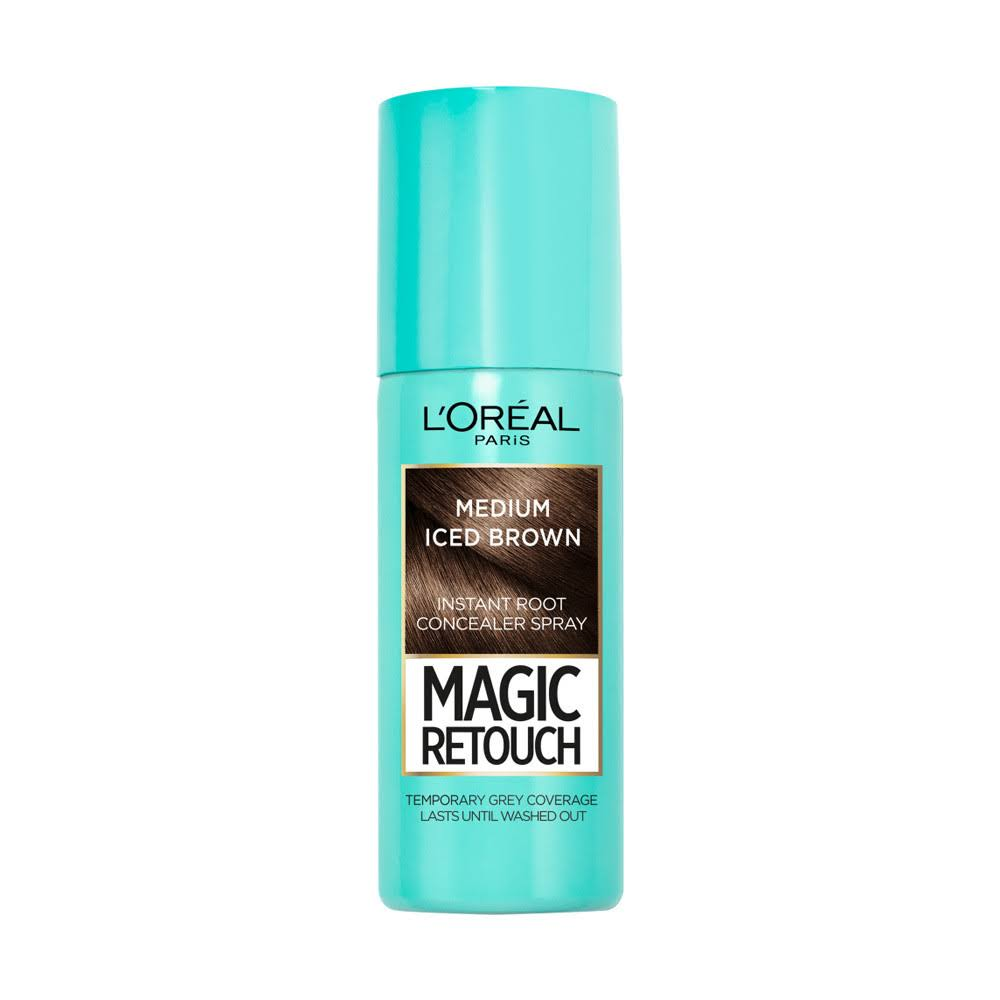 L'Oreal Magic Retouch Temporary Instant Grey Root Concealer Spray - Medium Iced Brown, 75ml