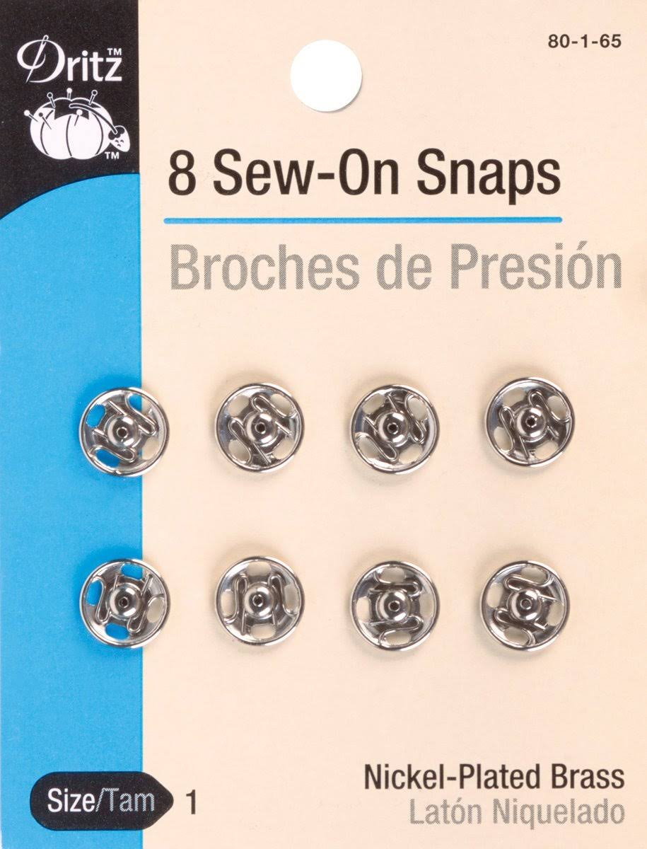 Prym Dritz Sew On Snaps - Nickel, 8 Pack
