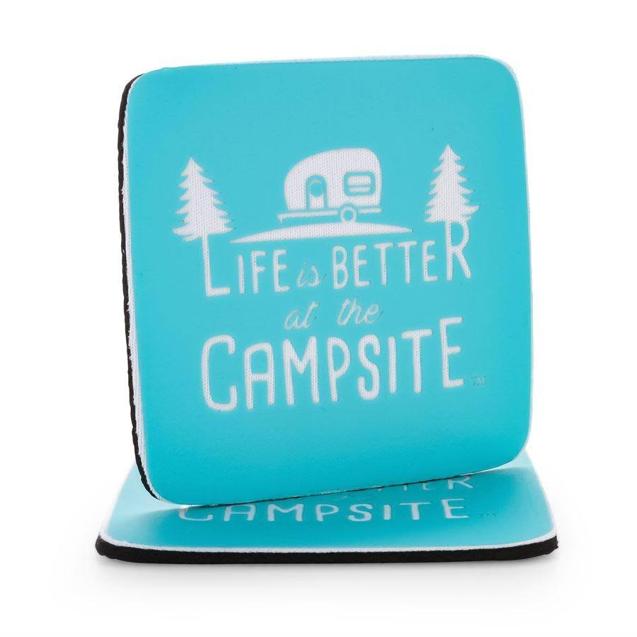 Camco 53230 Logo Life Is Better at The Campsite Neoprene Blue Design Coasters