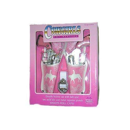 Parris Western Girl Double Pistol with Holster, Pink in Color, Shoots Roll Caps, Boxed