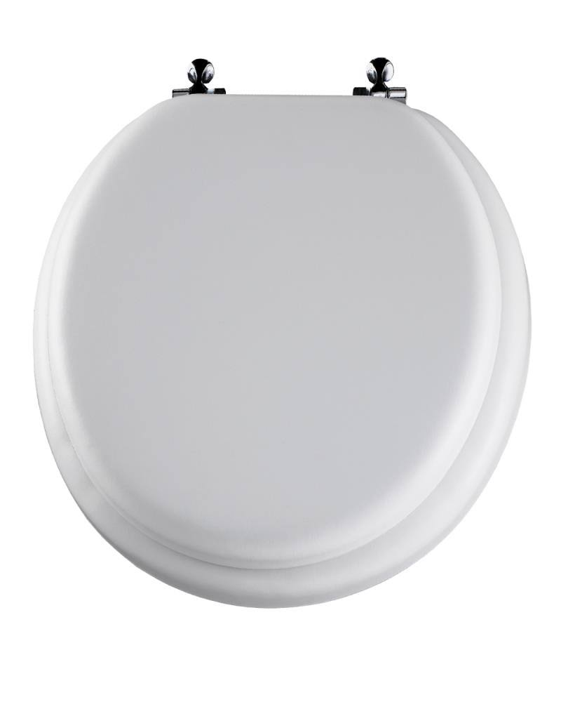 Mayfair 13CP 000 Soft Antimicrobial Vinyl Toilet Seat - Round, White, with Chrome Hinges
