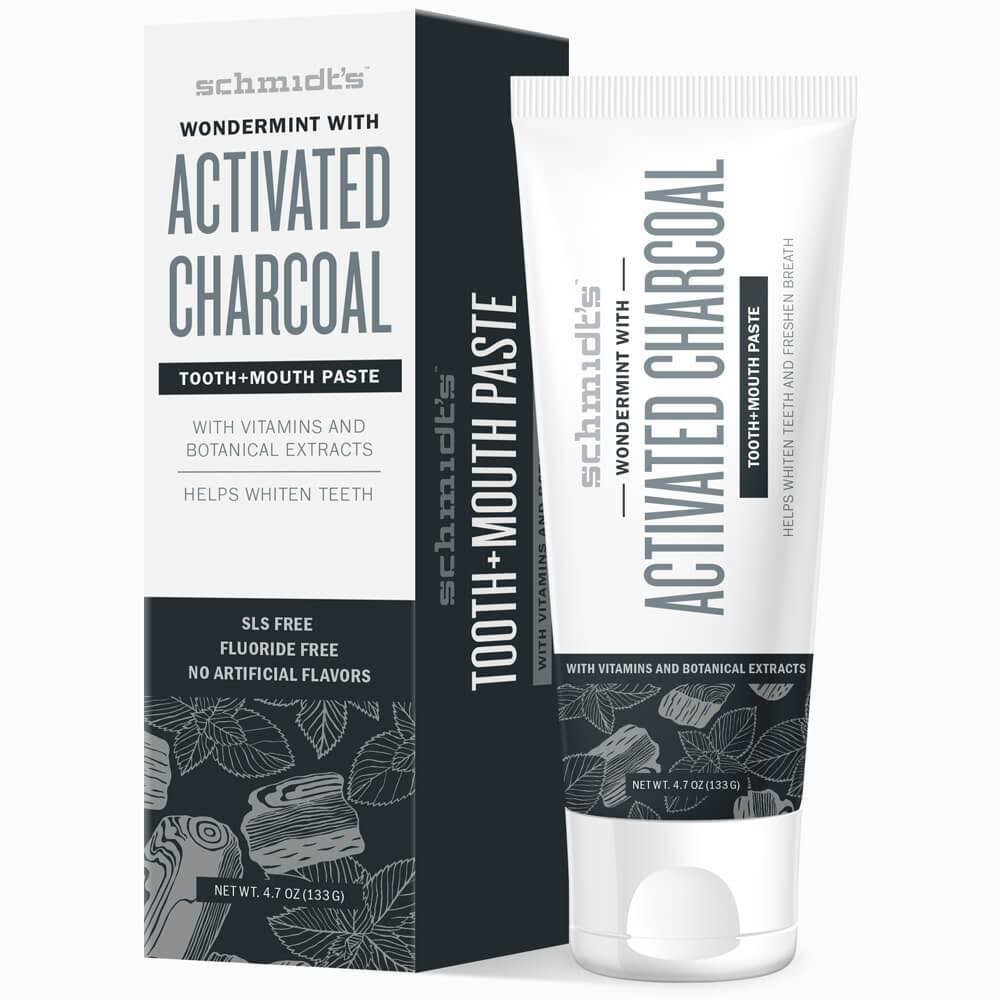 Schmidt's Wondermint Tooth and Mouth Paste - with Activated Charcoal, Vitamins, Botanical Extracts, 133g