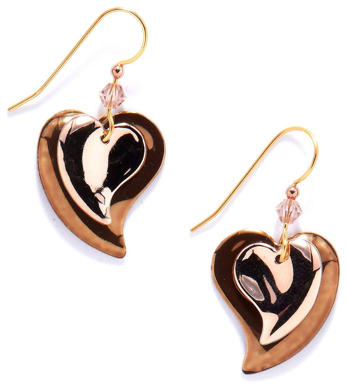 Silver Forest Two-Tone Layered Heart Drop Earrings