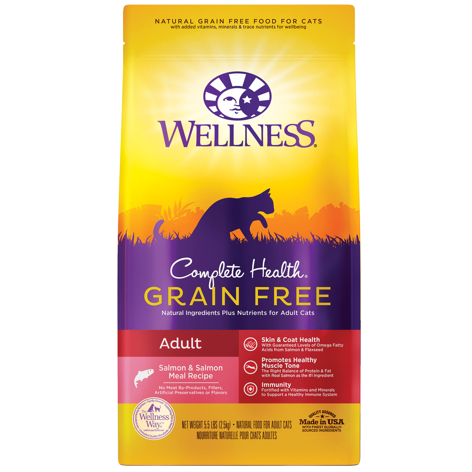 Wellness Complete Health Salmon & Salmon Liver Grain-Free Adult Dry Cat Food, 5.5-lb