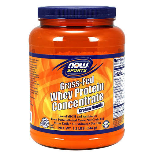 Now Sports Grass Fed Whey Protein Concentrate - Vanilla, 544g