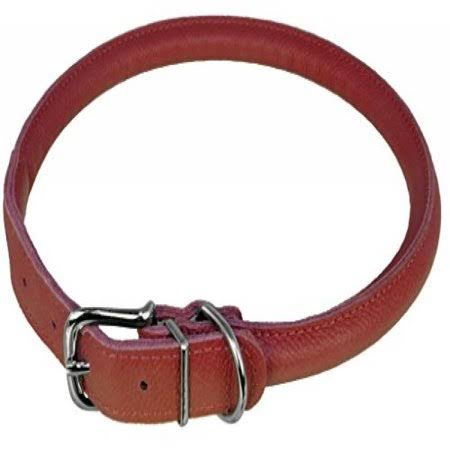 "Dogline Leather Dog Collar - Red, 1/2"" x 19-22"""