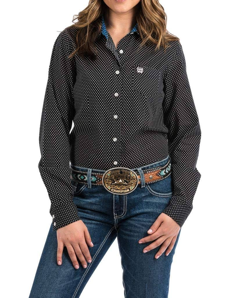 Cinch Women's Long Sleeve Print Button Down Shirt - Black - S
