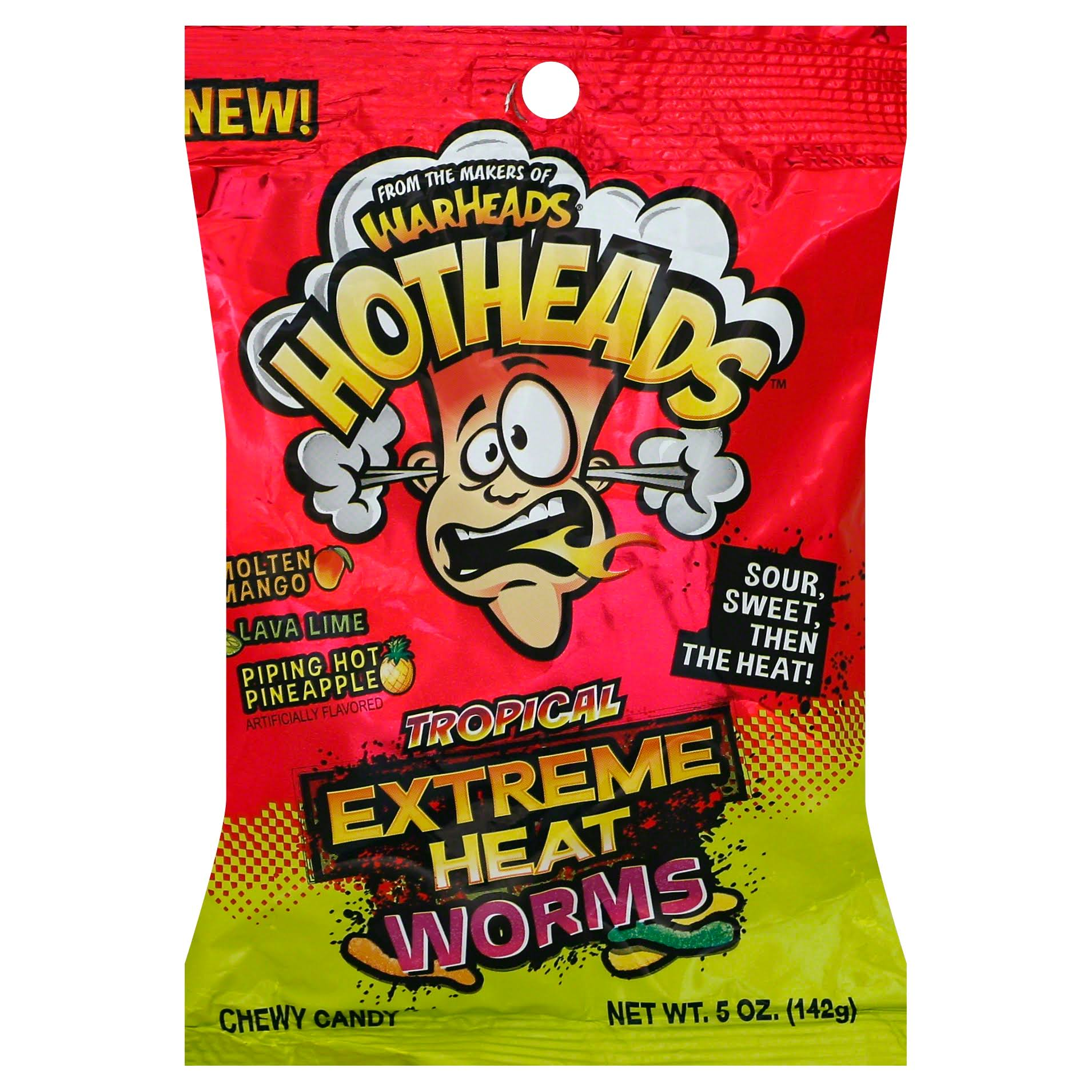 Warheads Tropical Extreme Heat Worms Hard Candy - 142g