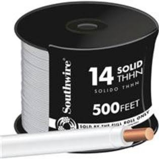 Southwire Company Solid THHN Electrical Wire - White, 500', 14 Gauge