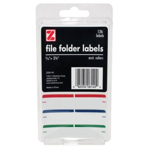 "Advantus Self Adhesive File Folder Labels - 9/16"" X 2 3/4"", 126 Labels, Assorted Colors"