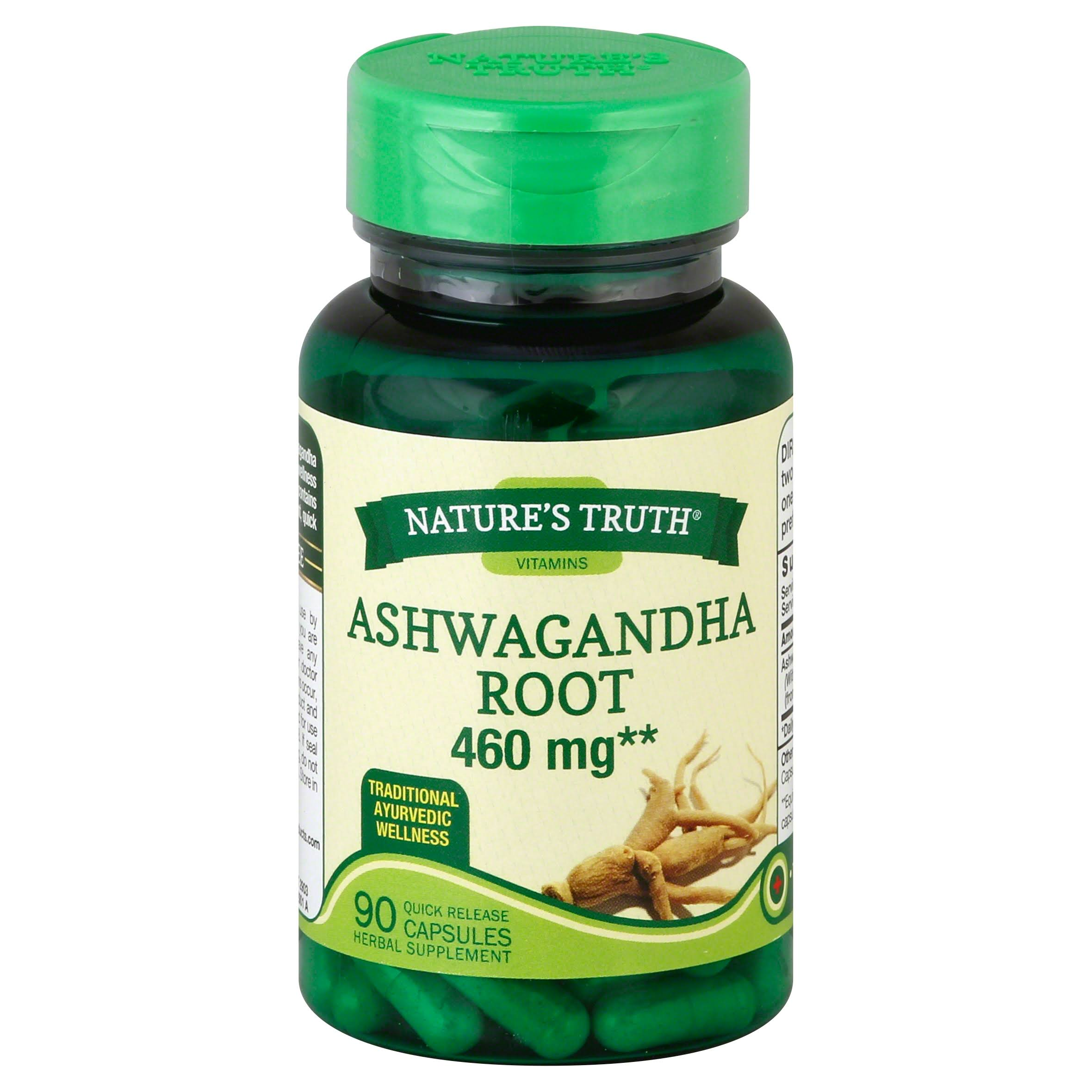 Natures Truth Ashwagandha Root, 460 mg, Quick Release Capsules - 90 capsules