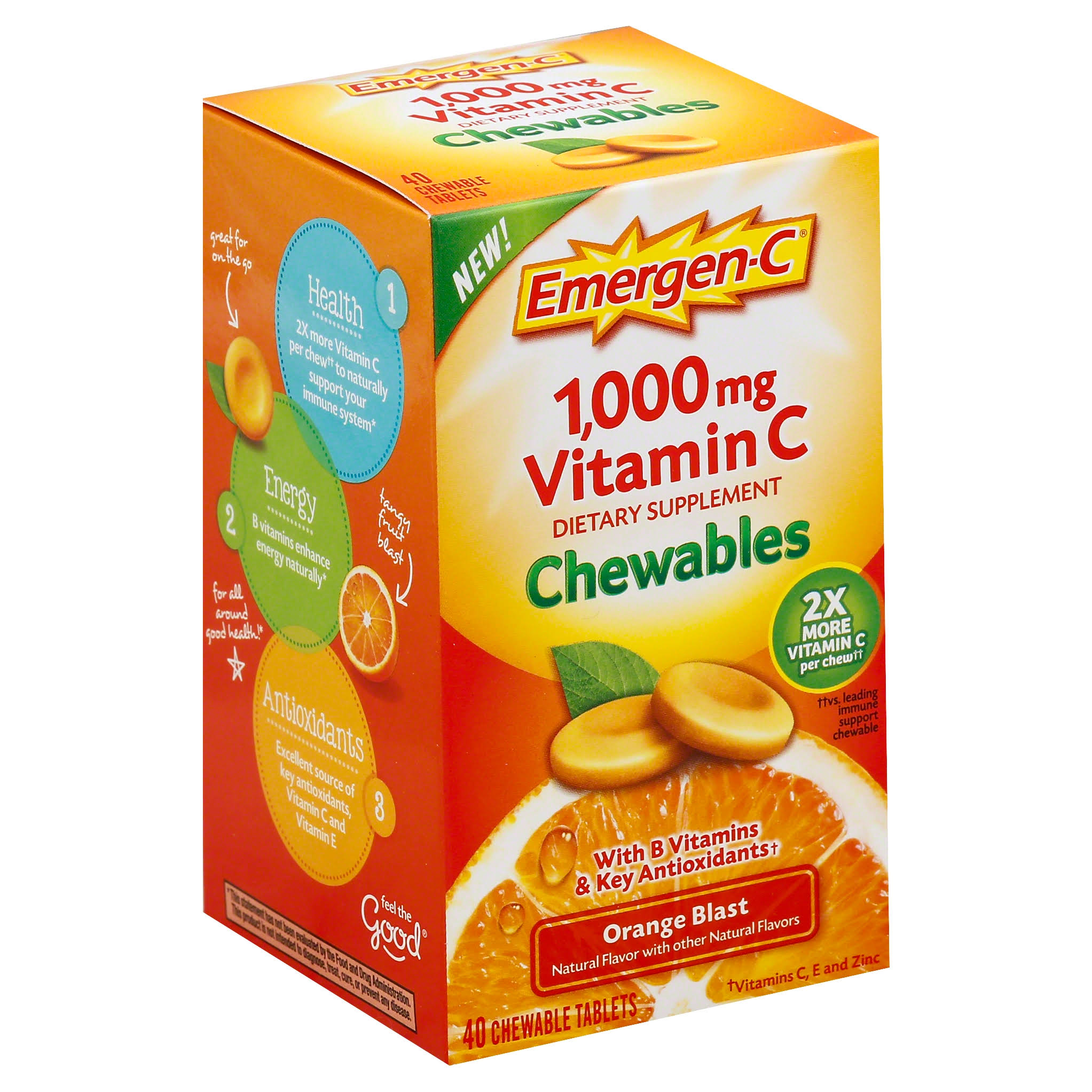 Emergen-C 1000mg Vitamin C Chewable Tablets - Orange, x40