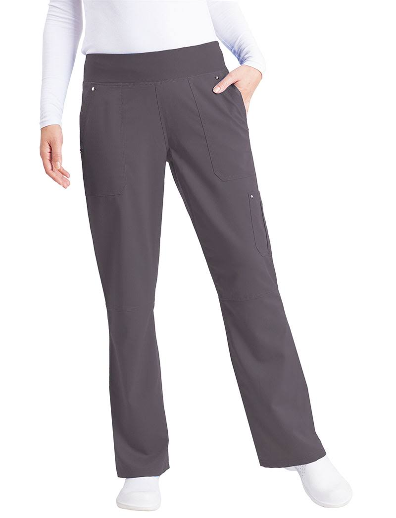 Healing Hands Purple Label 9133 'tori Pant' Yoga Scrub Bottoms - Pewter, XLarge Petite