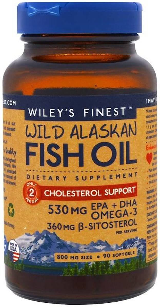 Wiley's Finest Wild Alaskan Fish Oil Omega 3 Cholesterol Support - 90 Softgels
