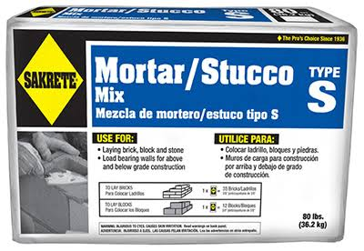 Sakrete High Strength Mortar Mix, Type S, Gray - 80 lb box