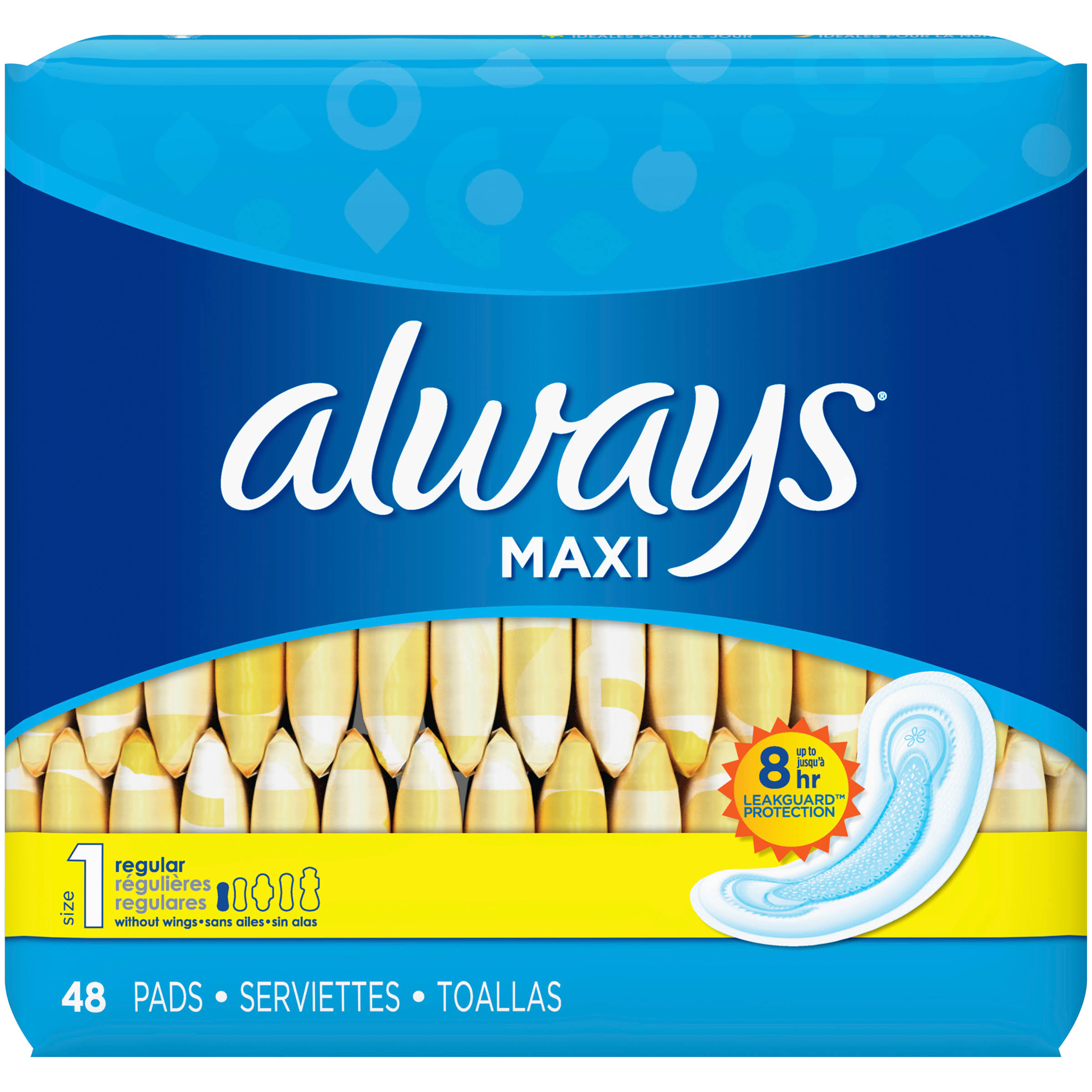 Always Maxi Regular Pads - without Wings, 48ct