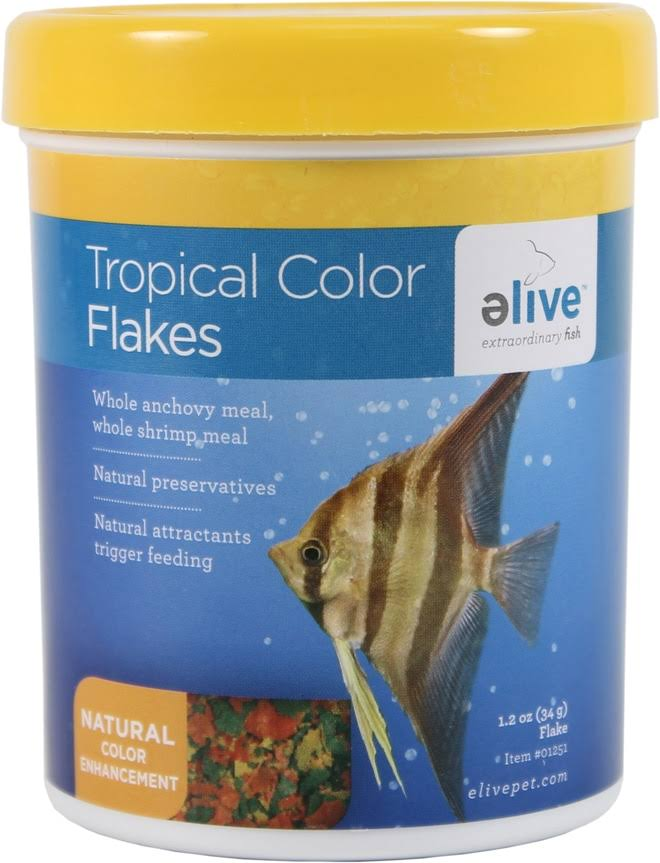 Elive Flake Fish Food - Tropical Color, 1.2oz