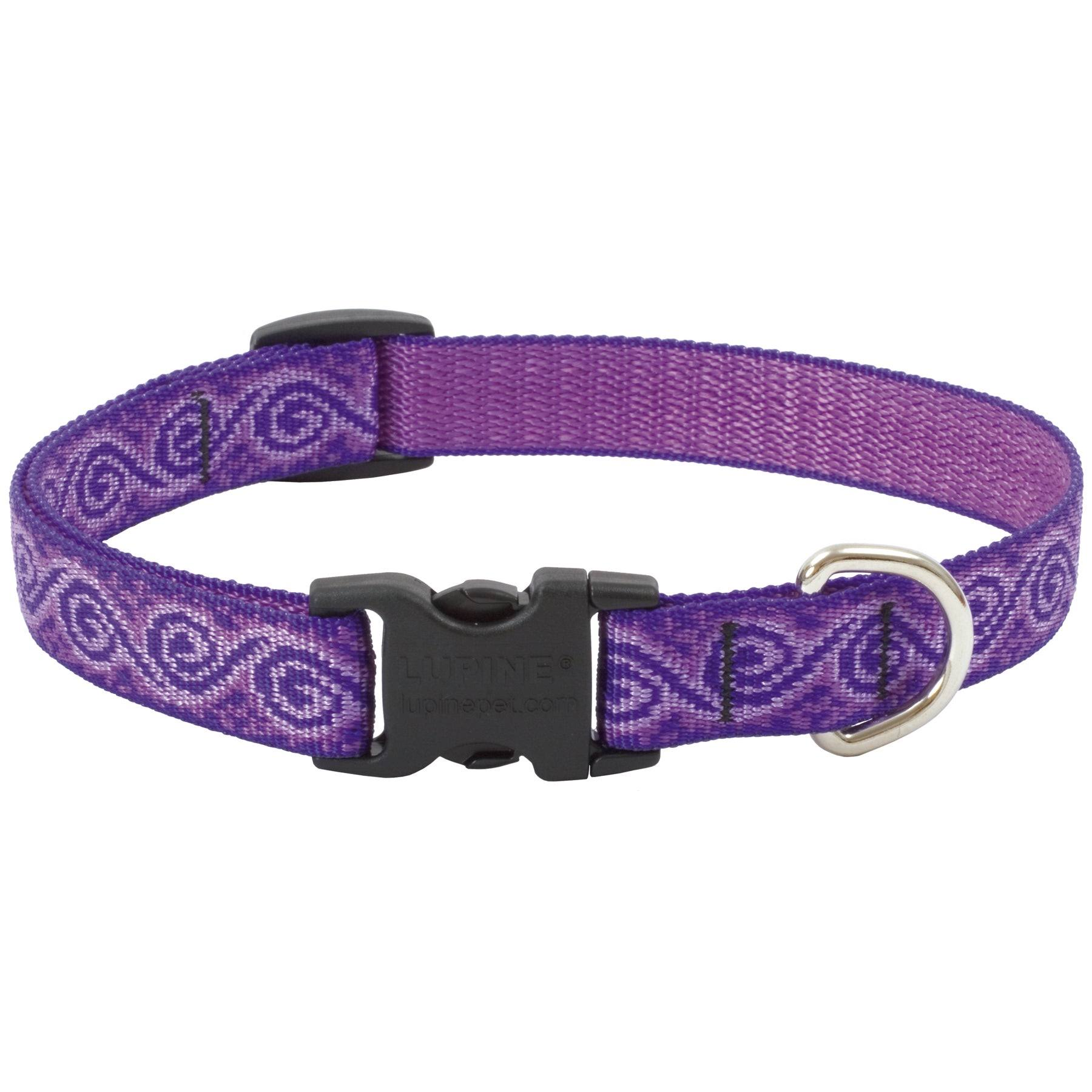 "Lupine Jelly Roll Patterned Dog Collar - for Small-Medium Dogs, 3/4"" Width, Adjustable, 9-14"""