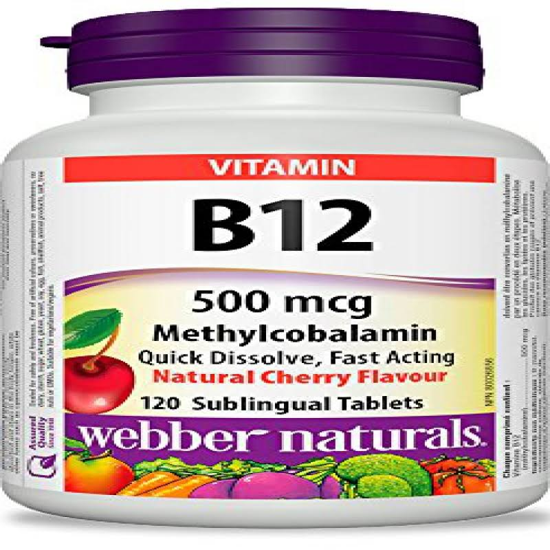 Webber Naturals Vitamin B12 Methylcobalamine - 500mcg, 120 Tablets