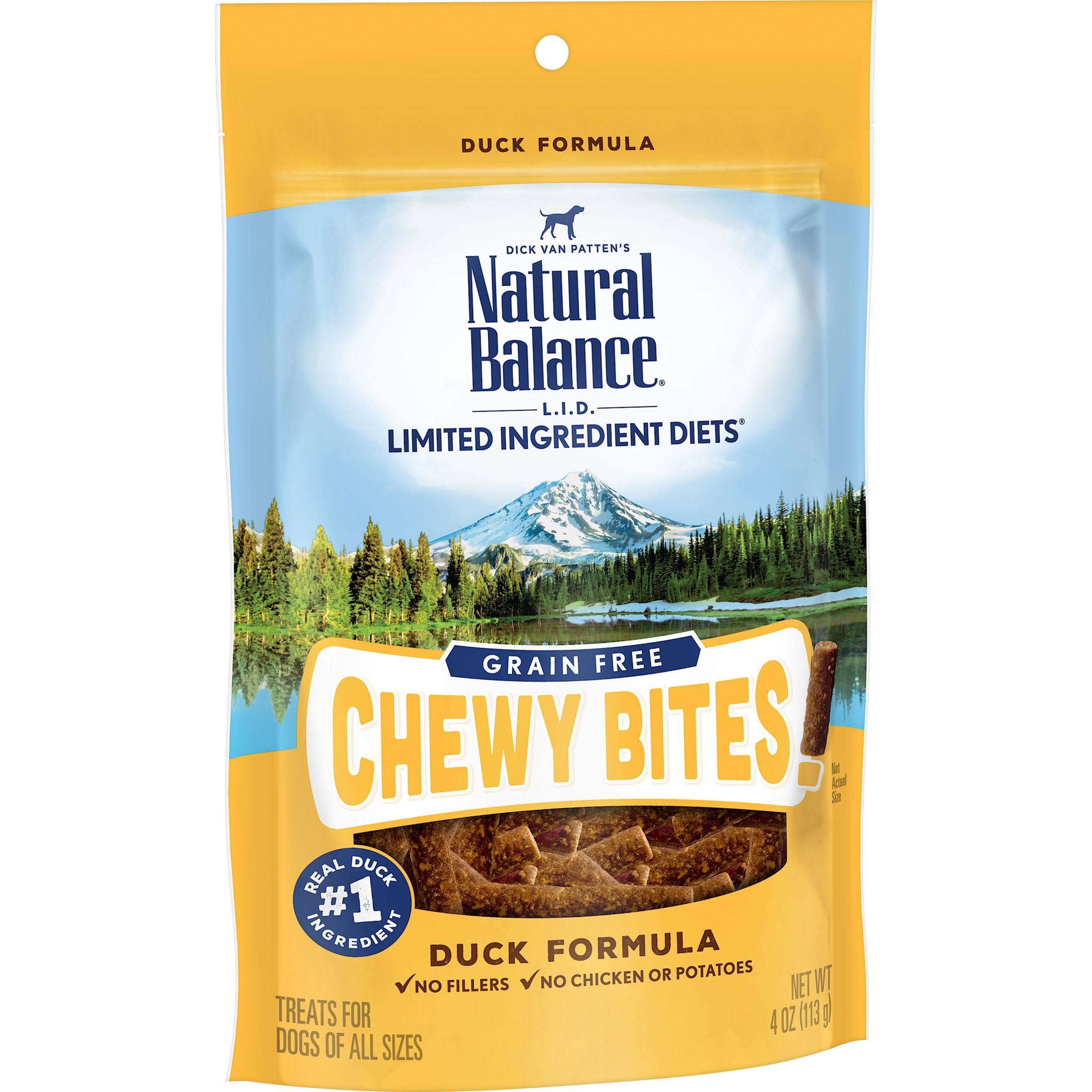 Natural Balance L.I.D. Limited Ingredient Diets Grain Free Chewy Bites Duck Formula Dog Treats 4oz