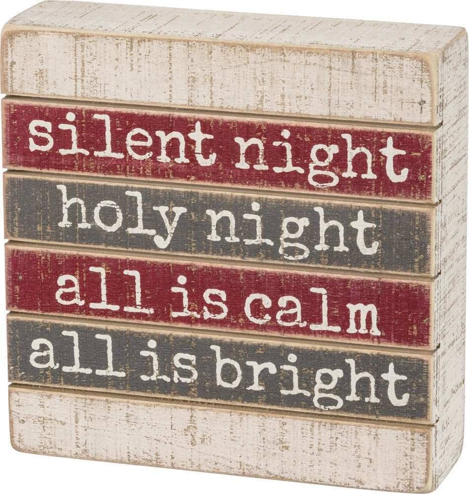 Primitives by Kathy Block Signs - 'Silent Night Holy Night' Block Sign