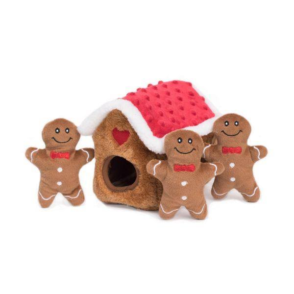 Zippy Burrow Gingerbread House Dog Toy