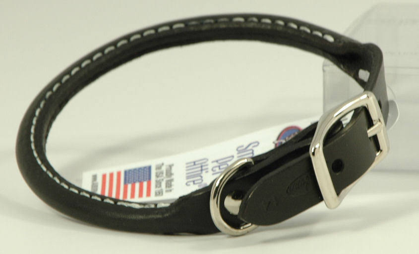 "Auburn Leather Round Rolled Pet Dog Collar - Black, 8"" to 20"""