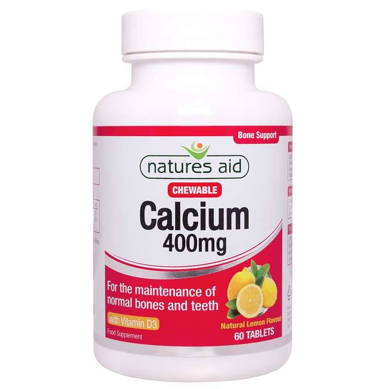 Natures Aid Chewable Calcium 400mg Food Supplement - 60 Capsules