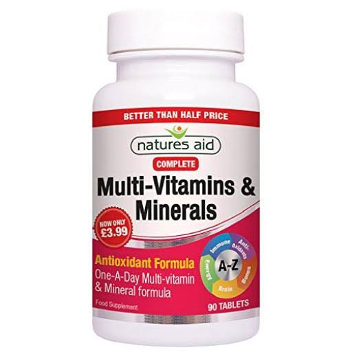 Natures Aid Complete Multi-vitamins and Minerals Supplement - 90ct